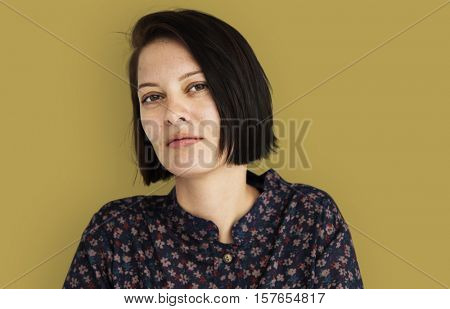 Woman Neutral Face Expression Daydreaming Concept