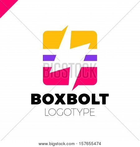 Flash Logo Abstract Design Vector Template In Square. Three Line Lighting Bolt Icon. Logo Thunder El