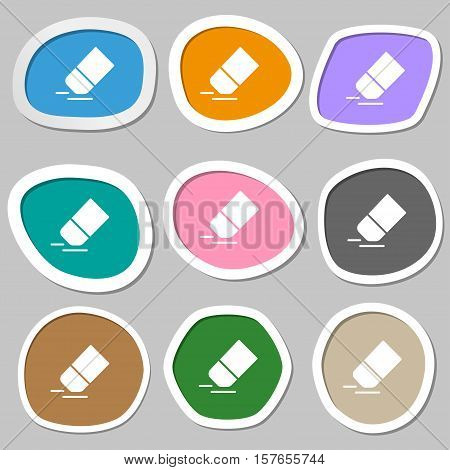 Eraser, Rubber Icon Symbols. Multicolored Paper Stickers. Vector
