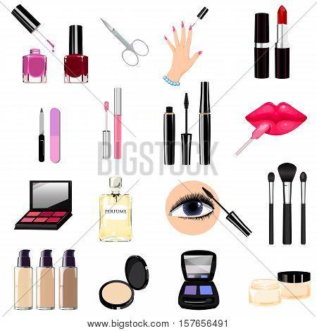 Seth cosmetics manicure beauty perfumes icons. Nail polish mascara lipstick eye shadows brush powder lip gloss lips.