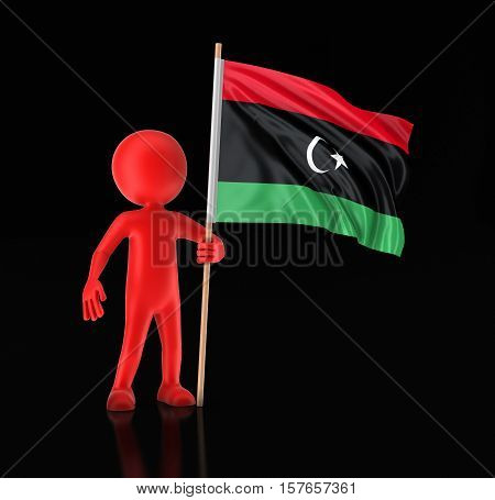 3D Illustration. Man and Libya flag. Image with clipping path