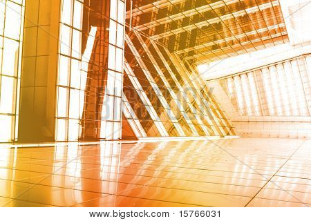 Orange Abstract Building Wallpaper Background with Interesting Angle