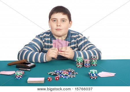Boy Playing Poker