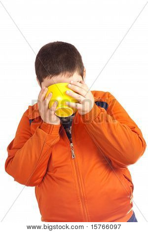 Funny Child Drink From Big Yellow Cup