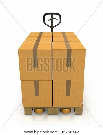 Stack Of Carton Boxes On A Pallet With A Pallet Truck Front View