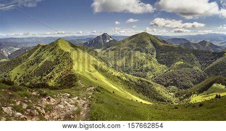 Mala Fatra National Park, Slovakia. View from the mountain ridge to Velky Rozsutec, Stena and Stoh hills.
