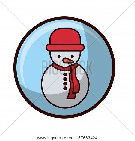 crystal sphere with snowman and coat vector illustration