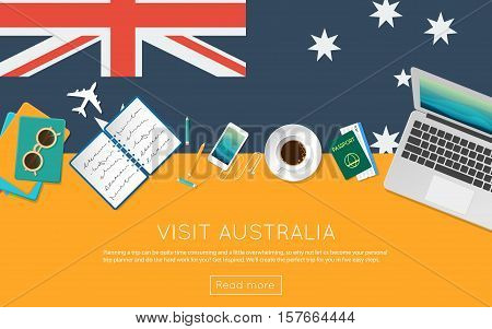 Visit Australia Concept For Your Web Banner Or Print Materials. Top View Of A Laptop, Sunglasses And