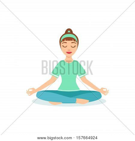 Lotus PAdmasana Yoga Pose Demonstrated By The Girl Cartoon Yogi With Ponytail In Blue Sportive Clothing Vector Illustration. Part Of Collection Of Yoga Asana Postures Drawing With Young Woman In Training Outfit