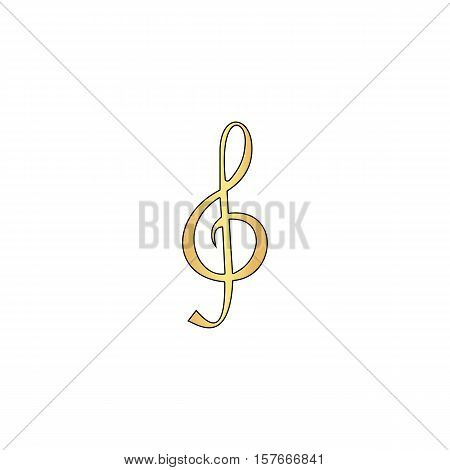 clef Gold vector icon with black contour line. Flat computer symbol