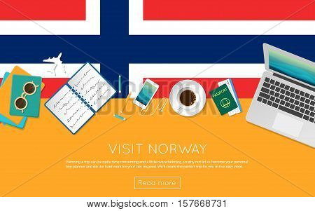 Visit Norway Concept For Your Web Banner Or Print Materials. Top View Of A Laptop, Sunglasses And Co