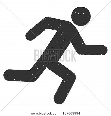 Running Man grainy textured gray icon for overlay watermark stamps. Flat symbol with dirty texture. Dotted vector ink rubber seal stamp with grunge design on a white background.