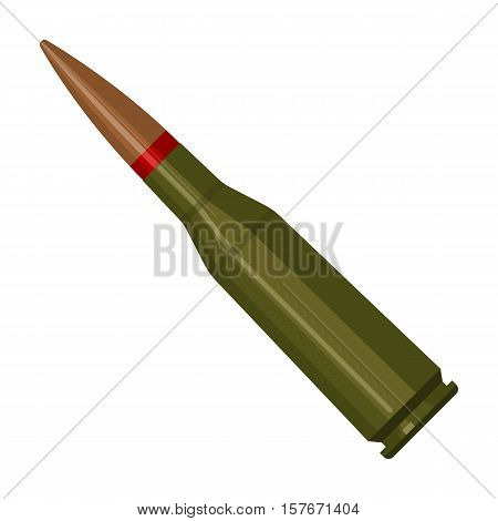 Military rifle bullet icon in cartoon style isolated on white background. Military and army symbol vector illustration