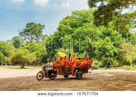 Buddhist Monks Traveling To Angkor Wat, Siem Reap, Cambodia