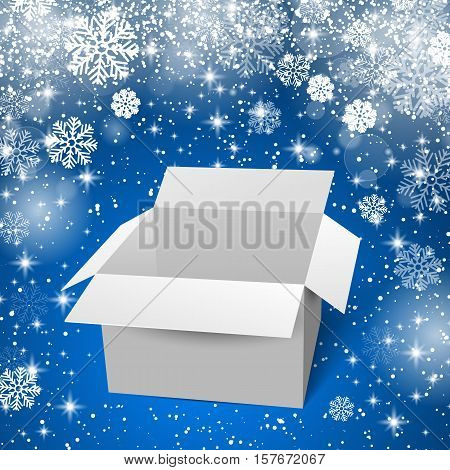 White box with shadows and reflectoins. Blue snow background. Vector illustration.