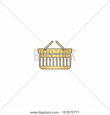 basket Gold vector icon with black contour line. Flat computer symbol