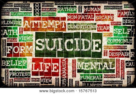 Suicide Concept as a Grunge Depression Background
