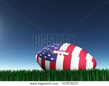 Game ball in national colors.   3D Rendered