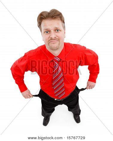 Man Showing Empty Pocket