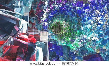 Interior of colorful crystal filled cavity   3D Rendered