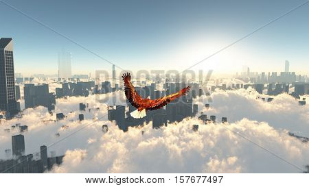 Eagle's flying above city   3D Rendered