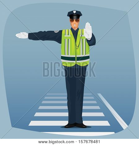 Officer Of Traffic Police Standing At Crossroads