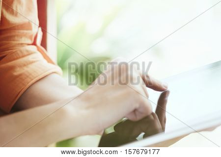 Girl Using Laptop Online Connection.