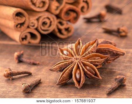 Star Anise On Wooden Background