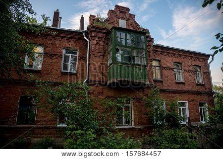 Old red brick building of Chizhovsky barracks in Voronezh