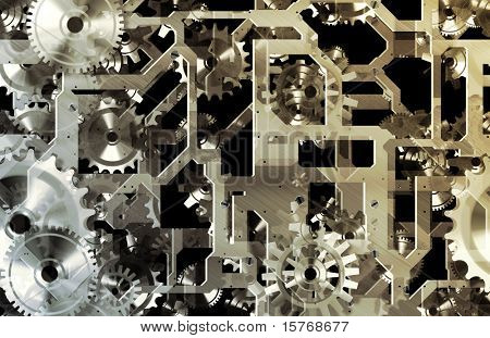 Industrial Mechanical Background with Cogs as Art