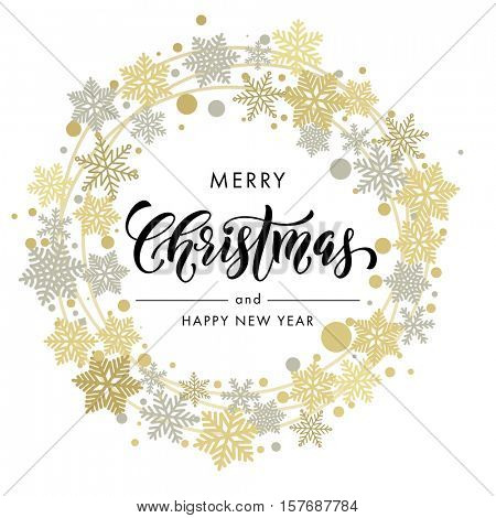 Merry Christmas and New Year wish greeting card lettering. Vector calligraphy text with ornament decoration of golden wreath and silver snowflakes on white background