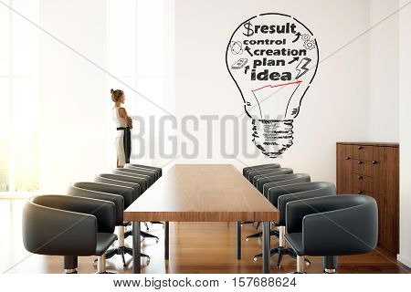 Young businesswoman in modern conference room looking at wall with creative lamp sketch. Business process concept. 3D Rendeeing