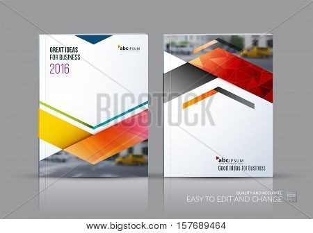 Business vector set. Brochure template layout, cover design annual report, flyer in A4 with triangles, arrows for business, finance, buildings, nature concept. Abstract creative design.