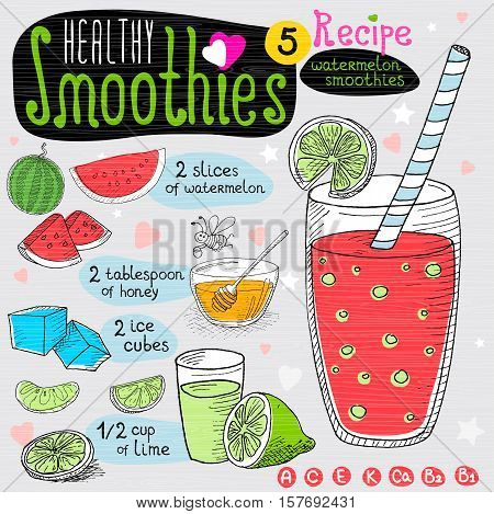 Healthy smoothie recipe set. With illustration of ingredients, glass, stars, hearts and vitamin. Hand drawn in sketch style. Watermelon smoothie. Watermelon, ice cubes, lime, bee, honey.