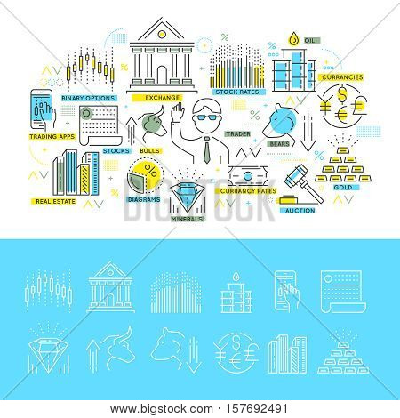 Stock exchange linear concept with trading composition and set of monochrome icons isolated vector illustration