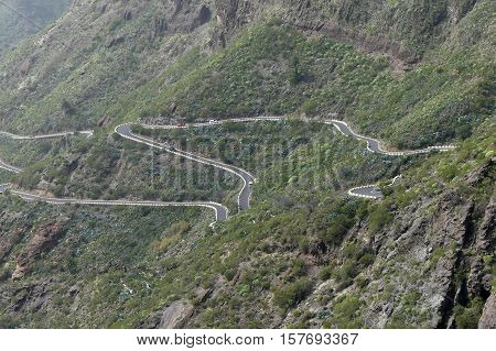 Zigzag road in the mountains on Tenerife island