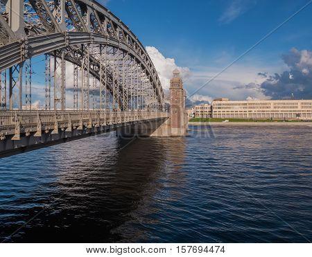 View of Bolsheokhtinsky bridge. Peter The Great Bridge.