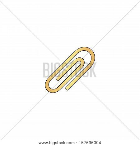 paper clip Gold vector icon with black contour line. Flat computer symbol