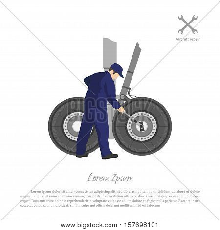 Repair and maintenance of aircraft. Engineer repairing airplane landing gear. Vector illustration