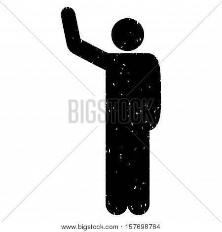 Hello Pose grainy textured black icon for overlay watermark stamps. Flat symbol with scratched texture. Dotted vector ink rubber seal stamp with grunge design on a white background.