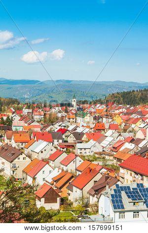 Panoramic view of Croatian town Delnice, Gorski Kotar in spring