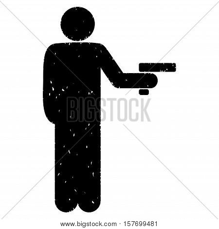 Robber With Gun grainy textured black icon for overlay watermark stamps. Flat symbol with dust texture. Dotted vector ink rubber seal stamp with grunge design on a white background.