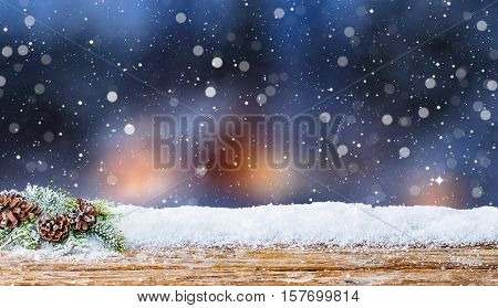 snow winter background wooden evening night light abstract wintertime snowfall cold snowy table icy white cloud wintry countryside scenes snowdrift morning floor calm spotlight concept - stock image