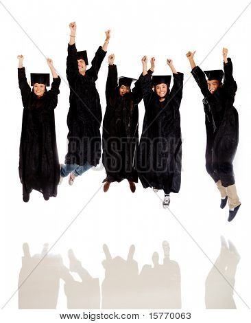 Happy group of graduates jumping and celebrating - isolated over white