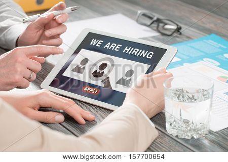 recruitment hiring recruiting recruit hr job creative wanted team announce - stock image
