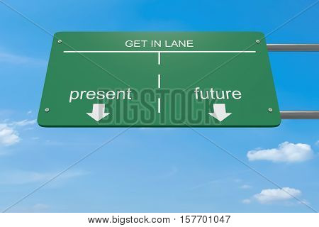 Get In Lane Innovation Business Concept: Present Or Future 3d illustration