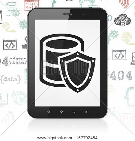 Database concept: Tablet Computer with  black Database With Shield icon on display,  Hand Drawn Programming Icons background, 3D rendering