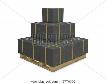 Black cardboard boxes in group
