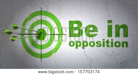 Success politics concept: arrows hitting the center of target, Green Be in Opposition on wall background, 3D rendering
