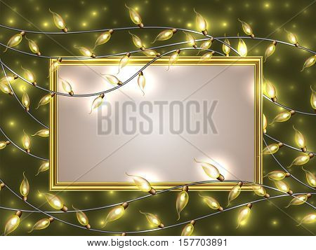 Gold Frame With Place For Text Surrounded By Colorful Glowing Christmas Lights.vector Elements Can B